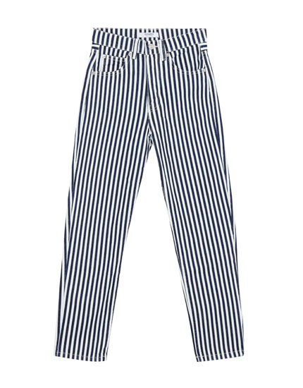 Straight high waist striped jeans