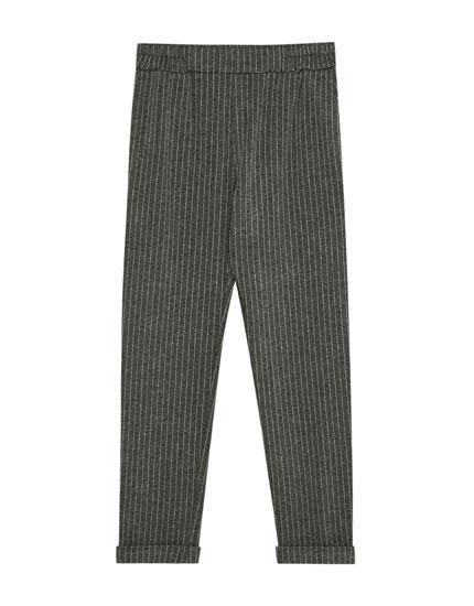 Çizgili özel dikim pantolon