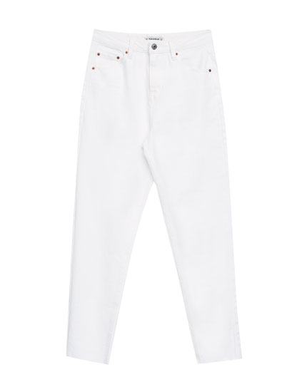 White mom fit jeans