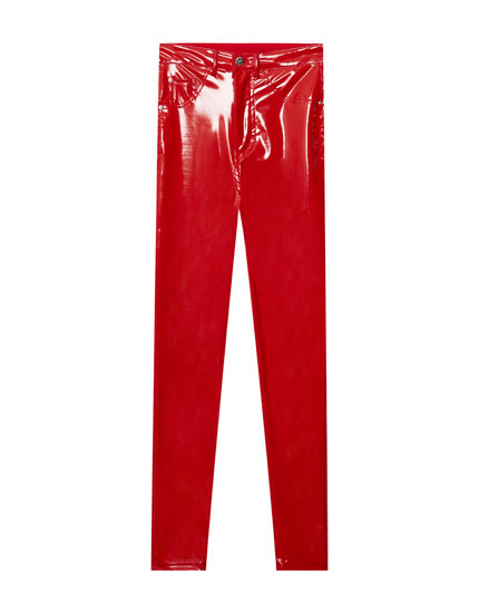 High waist vinyl trousers