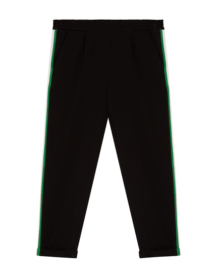 Jogging trousers with coloured side stripes