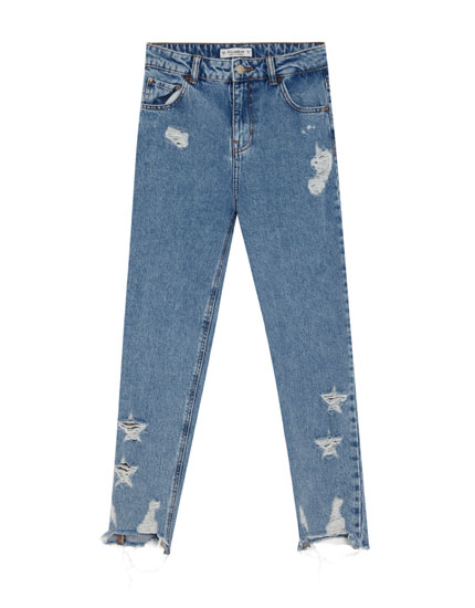 Ripped mom jeans with stars