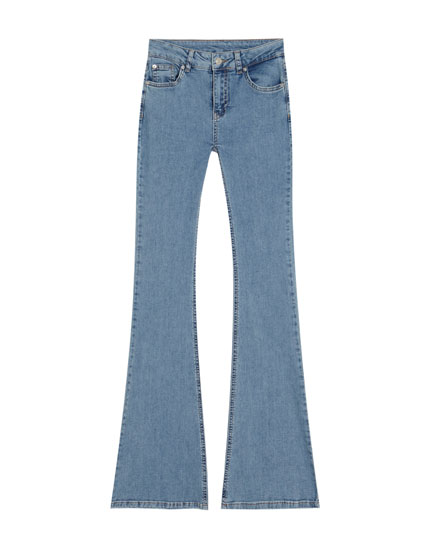 Mid-rise, flared jeans