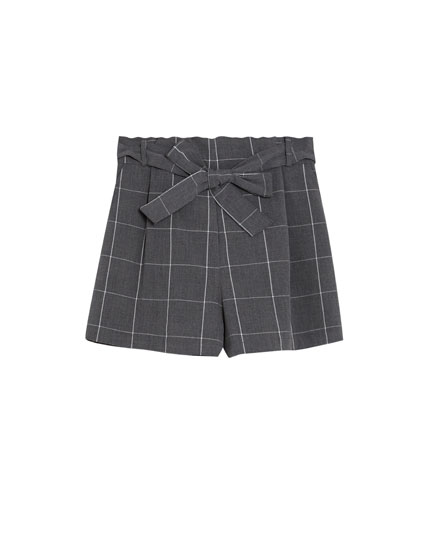 Checked tailored shorts with tied belt