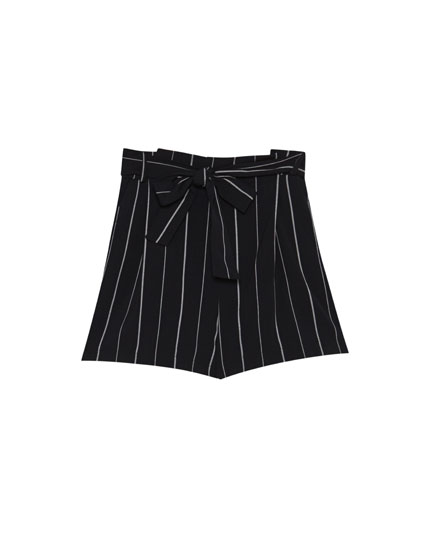 Tailored striped shorts with a tied waist