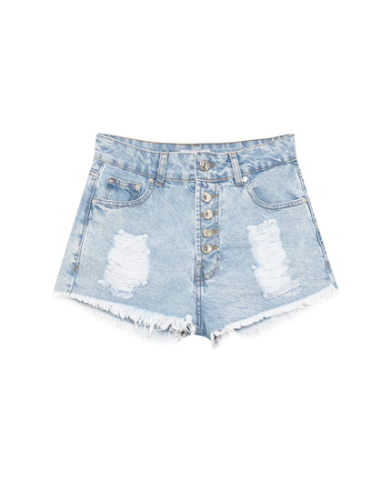 Short jean mom fit déchiré