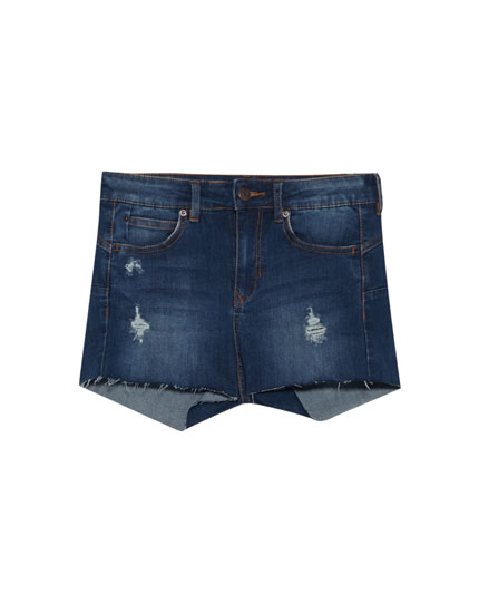 Short denim push up tiro medio