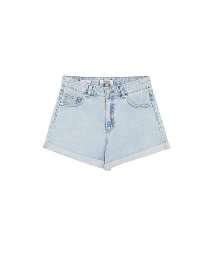 Mom fit denim shorts