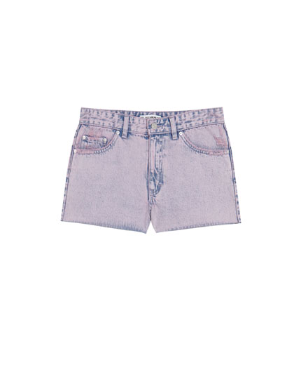 Short denim mom fit tiro alto