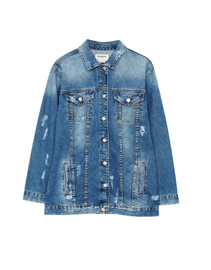 Long oversized denim jacket