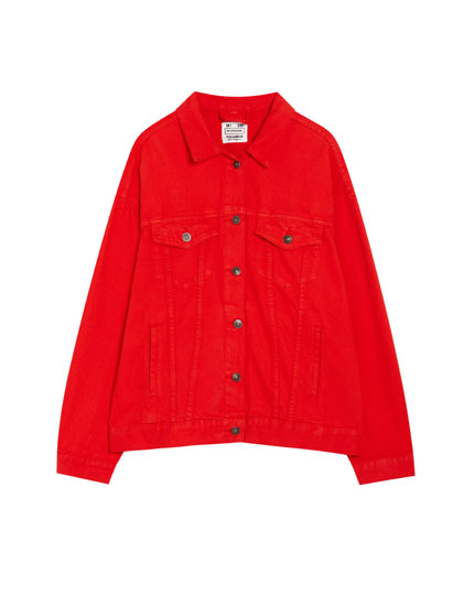 Red trucker jacket