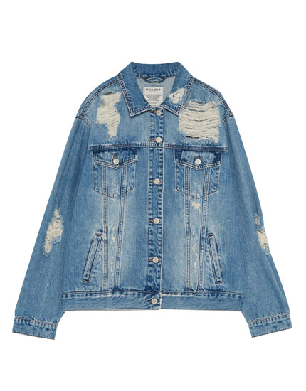 Ripped denim girlfriend jacket