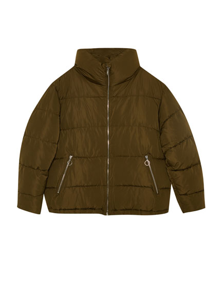 Quilted jacket with funnel collar