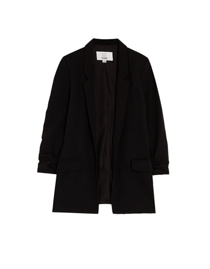 Plain gathered sleeve blazer