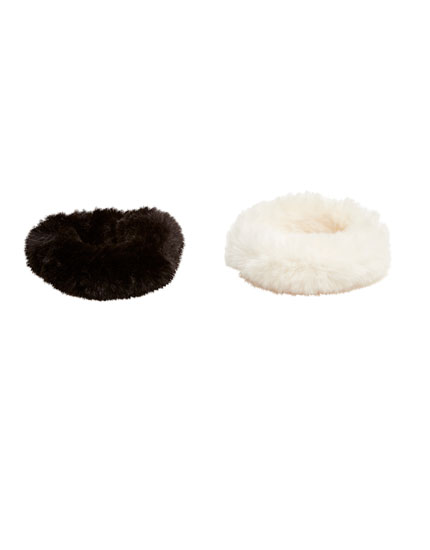 Faux fur hair ties