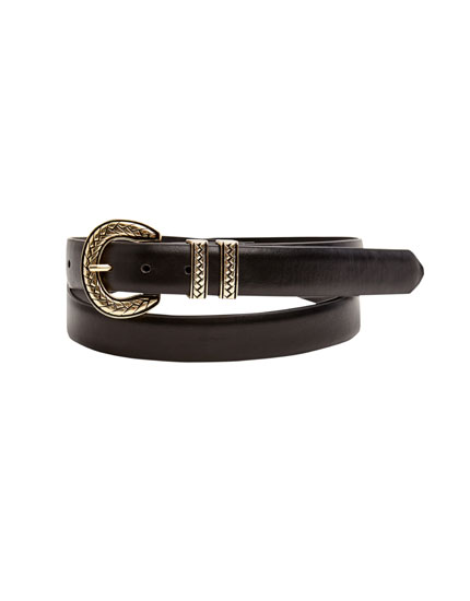 Belt with plaited buckle
