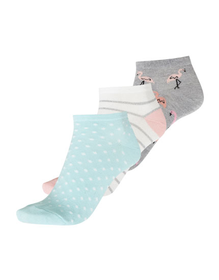 3-pack of flamingo ankle socks