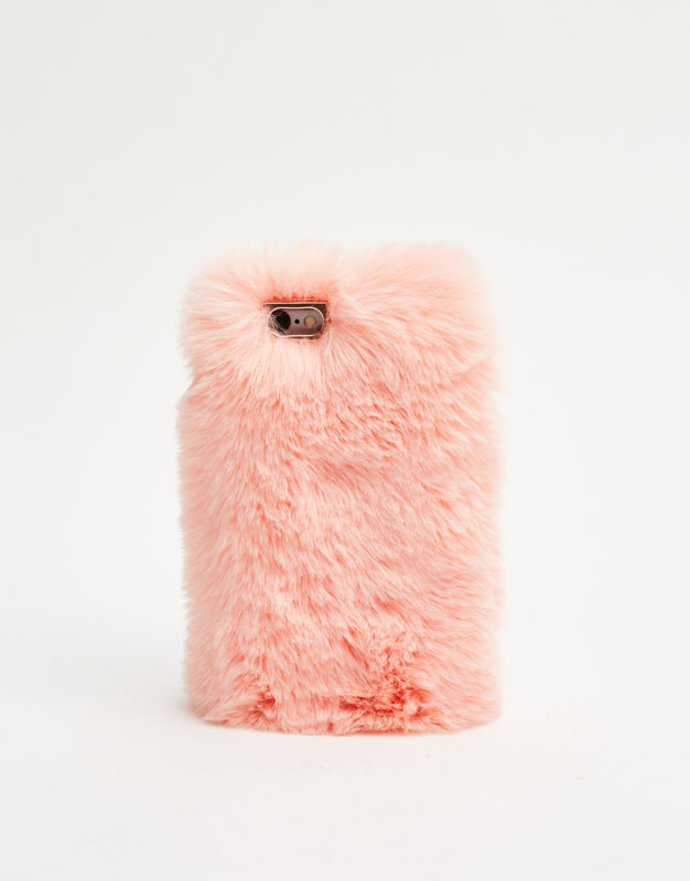 Faux Fur Mobile Phone Case by Pull & Bear
