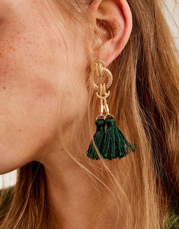 Baroque pompom earrings