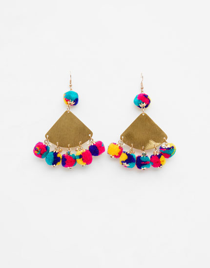 Multicoloured pompom earrings