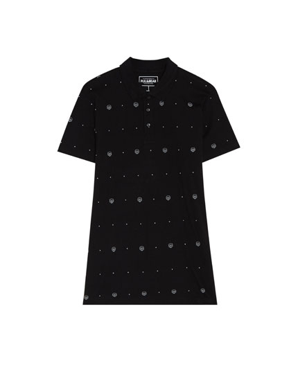Black short sleeve polo shirt with skull print