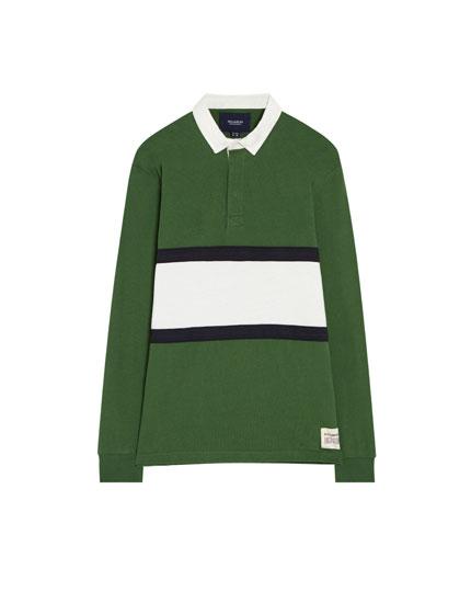 Long sleeve polo shirt with colour block