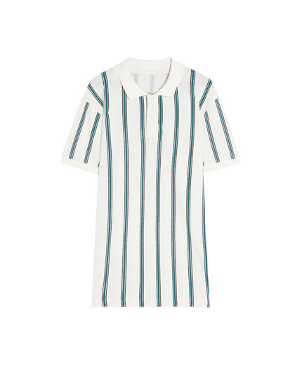 Vertical striped polo shirt