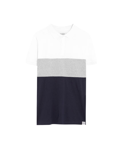Short sleeve 3-panel polo shirt