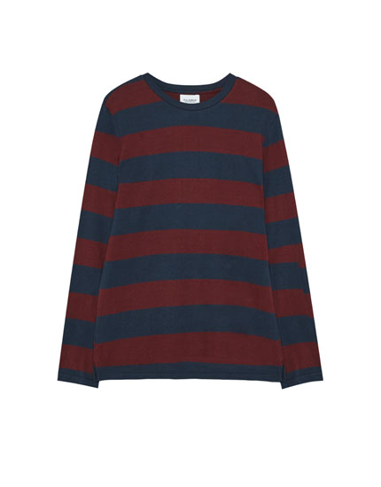 Long-sleeve striped T-shirt