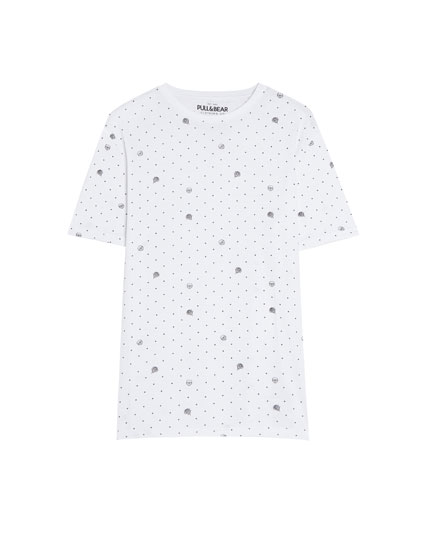 Short sleeve skulls and polka dots T-shirt