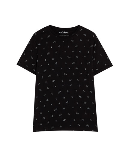 Short sleeve leaf print T-shirt