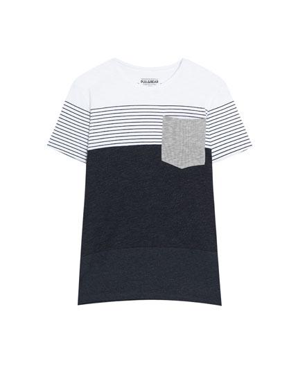 Κοντομάνικη μπλούζα με λωρίδες και ρίγες