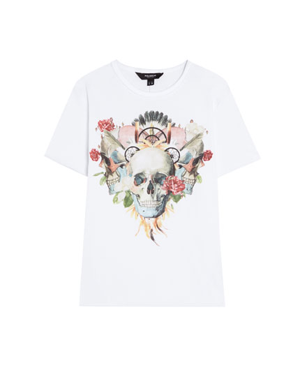 Short sleeve T-shirt with skull