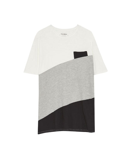 Diagonal colour block T-shirt