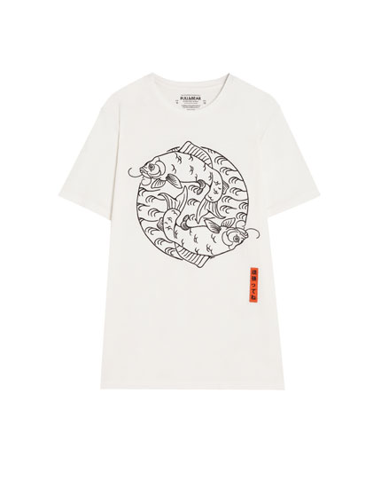 T-shirt with embroidered Japanese koi fish