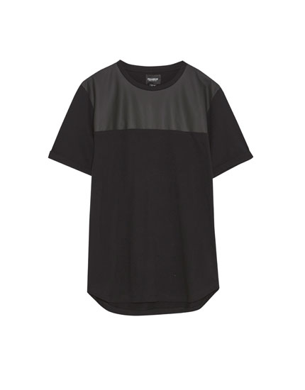 T-shirt with faux leather panel