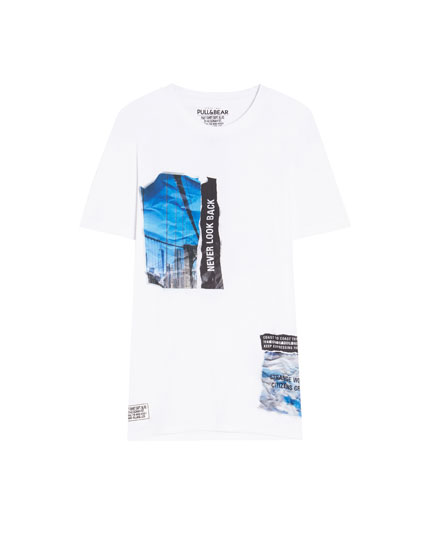 White stickers print T-shirt
