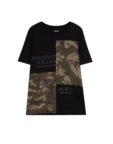 T-shirt with printed graphics and camouflage print