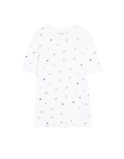 Short sleeve microprint T-shirt