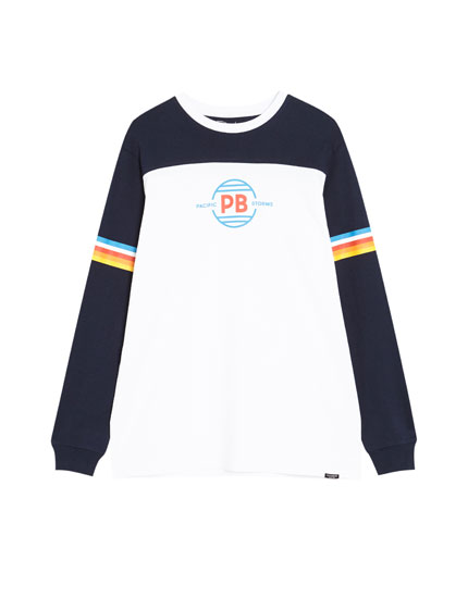 Long sleeve T-shirt with slogan and stripes