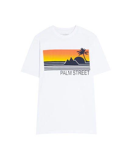 T-shirt with a raised palm tree print