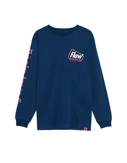 Long sleeve T-shirt with neon slogan