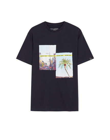 Short sleeve T-shirt with a photo appliqué