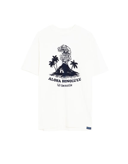 T-shirt med hawaiprint