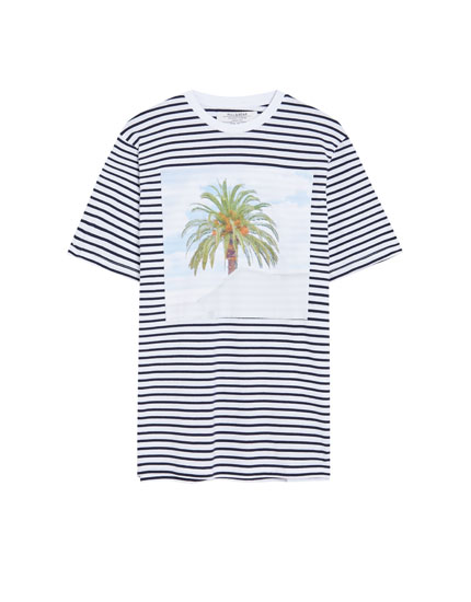 Striped T-shirt with a photo appliqué