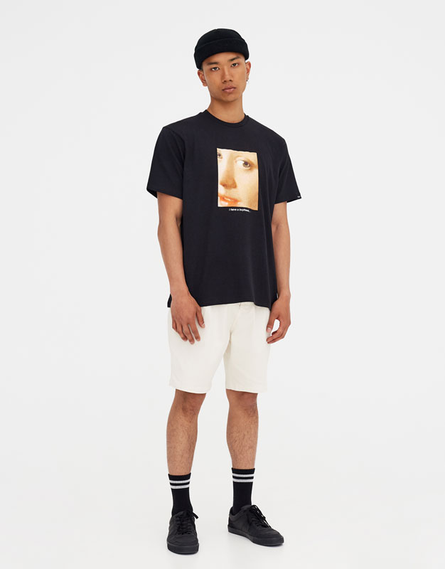 Short Sleeve T Shirt With A Picture Appliqué by Pull & Bear