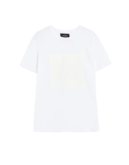 White short sleeve piqué T-shirt with patch
