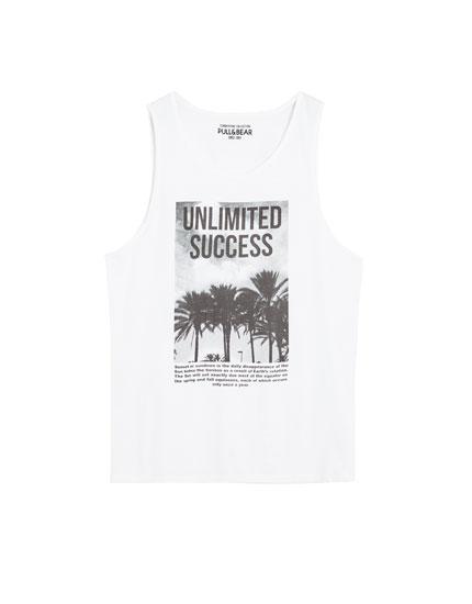 Camiseta blanca tirantes estampado fotográfico