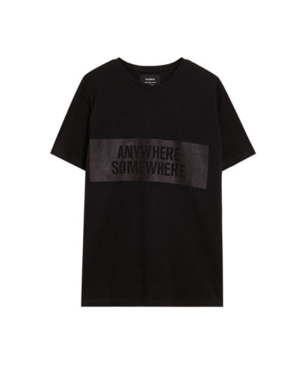 Black short sleeve piqué T-shirt with patch