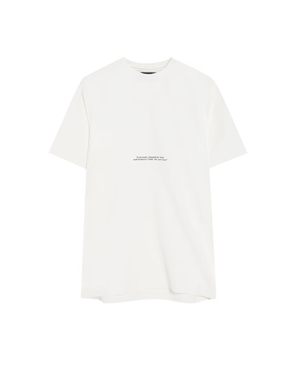 Short sleeve minimal font text T-shirt